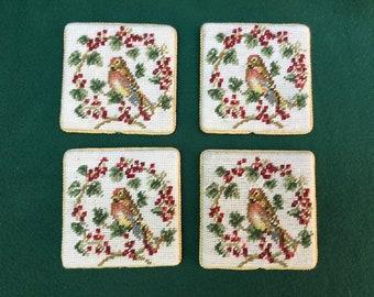 petit  point birds in antique chalk ware frames