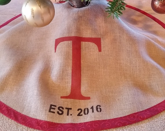 Red Personalized burlap tree skirt