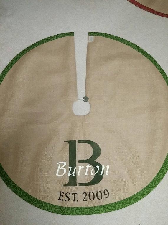 Green Personalized burlap tree skirt