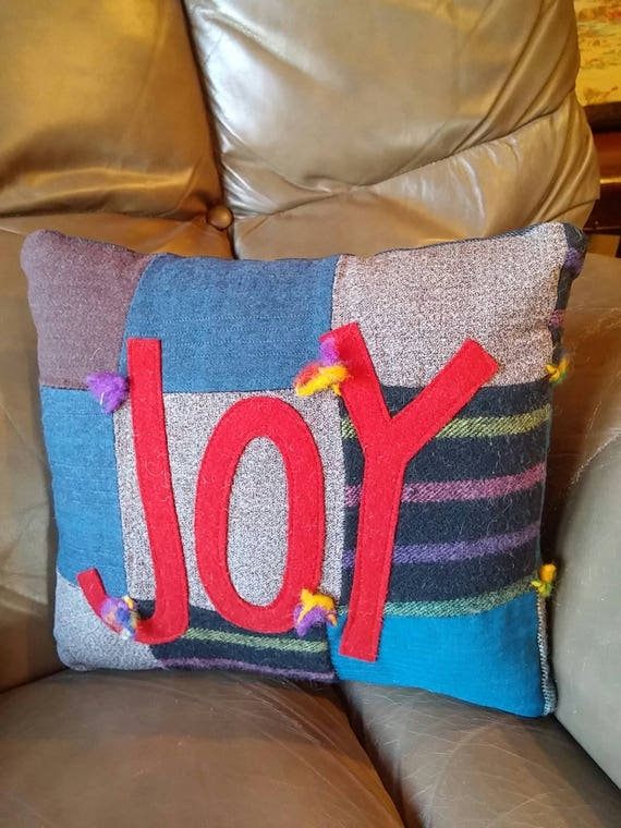 Vintage wool quilt with JOY accent pillow
