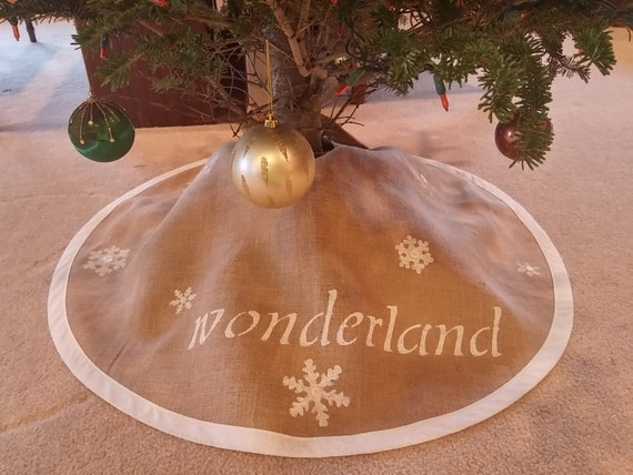 Burlap tree skirt with wonderland and snowflakes