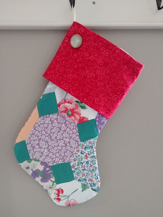 Large Christmas stocking from vintage quilt top