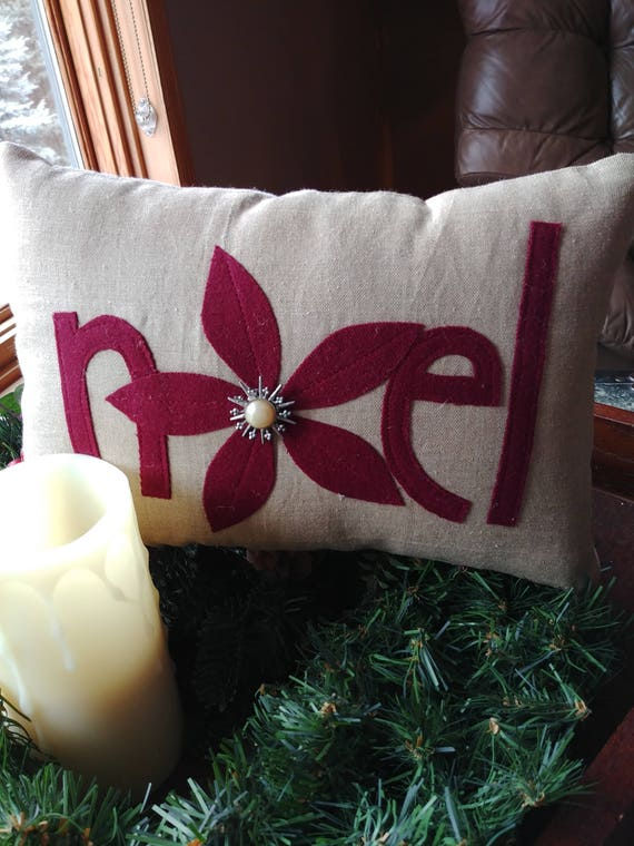 Small decorative holiday Noel pillow