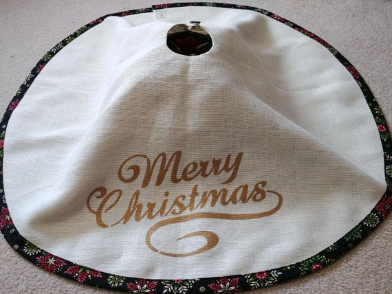 White Burlap Christmas tree skirt