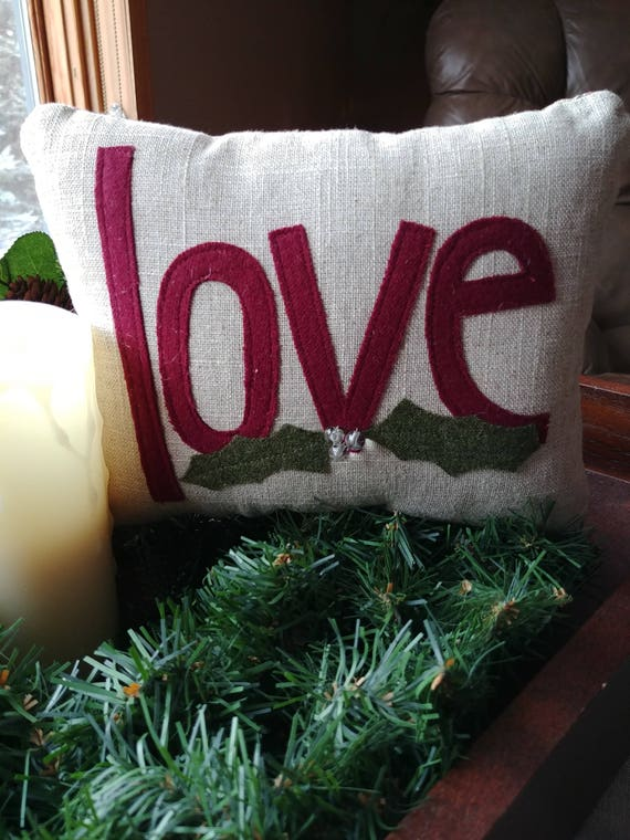 Small decorative holiday love pillow