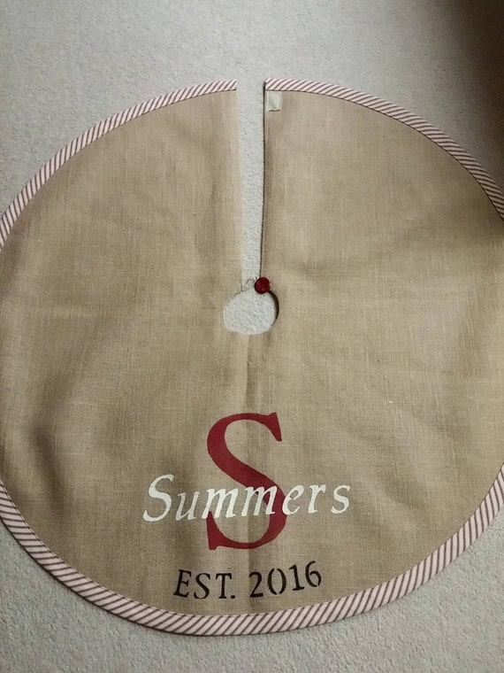 Personalized burlap Christmas tree skirt with striped edging