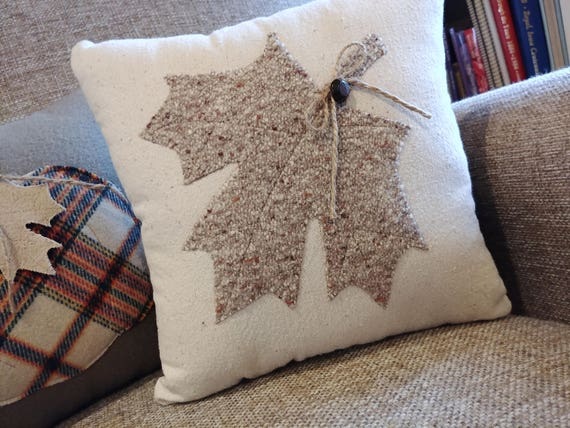 decorative pillow with wool leaf