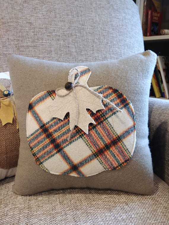 decorative pillow with vintage plaid woolen pumpkin