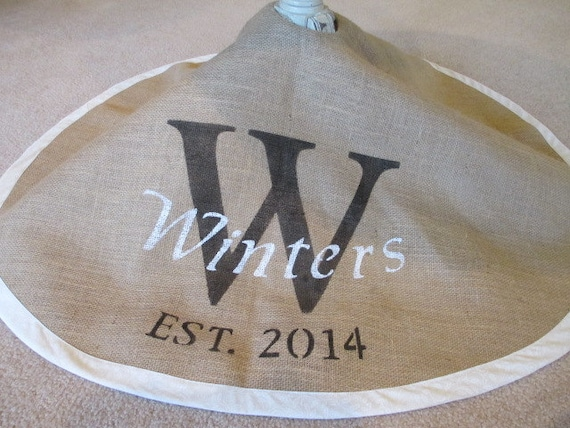 White and black Personalized burlap tree skirt