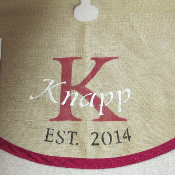 Red personalized burlap Christmas tree skirt