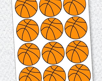 Basketball Party PRINTABLES Basketball Decals (INSTANT DOWNLOAD)