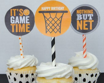 Basketball Cupcake Toppers PRINTABLE Party Circles (INSTANT DOWNLOAD) by Love The Day