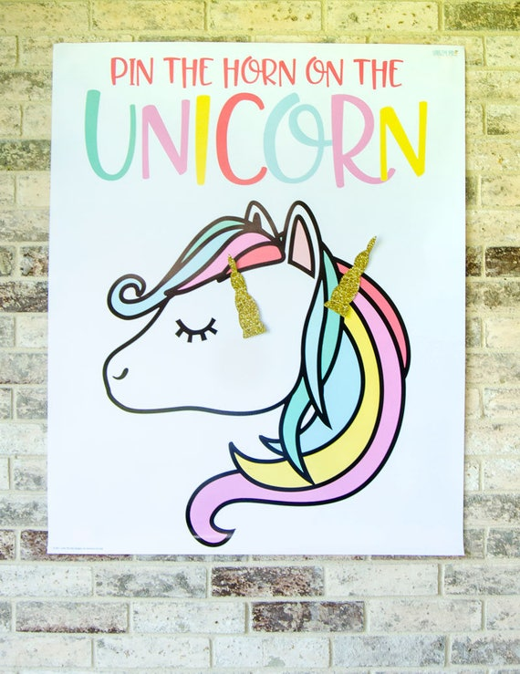 Canny image pertaining to pin the horn on the unicorn printable