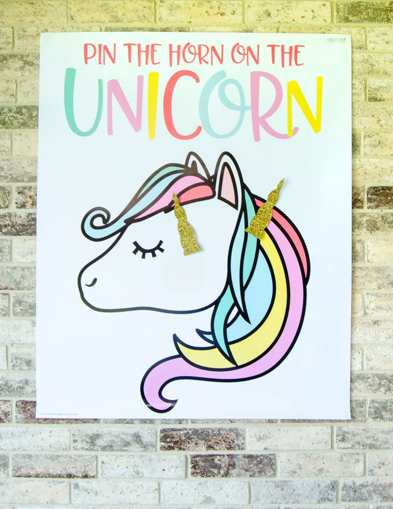graphic relating to Pin the Horn on the Unicorn Printable titled Pin The Horn Upon The Unicorn Match PRINTABLE (Instantaneous Obtain) through Lindi Haws of Take pleasure in The Working day