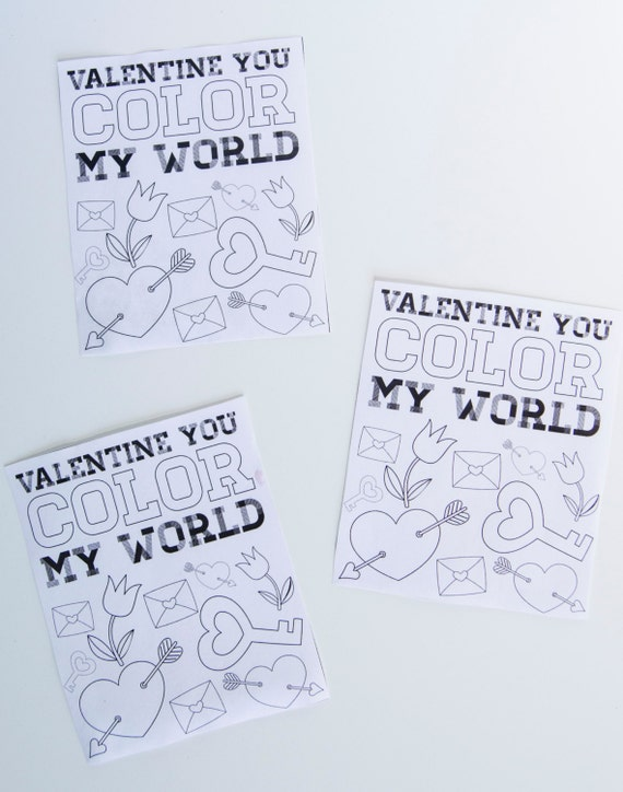 graphic regarding You Color My World Printable named Valentine PRINTABLE Clroom Coloration Tag Valentine By yourself Coloration