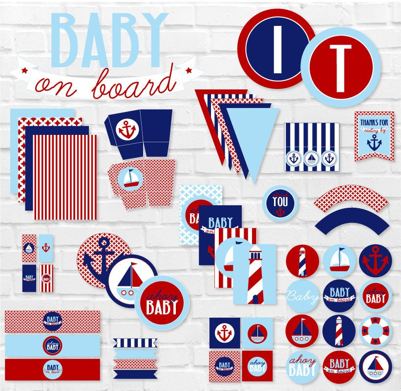 This is a photo of Remarkable Nautical Baby Shower Printables