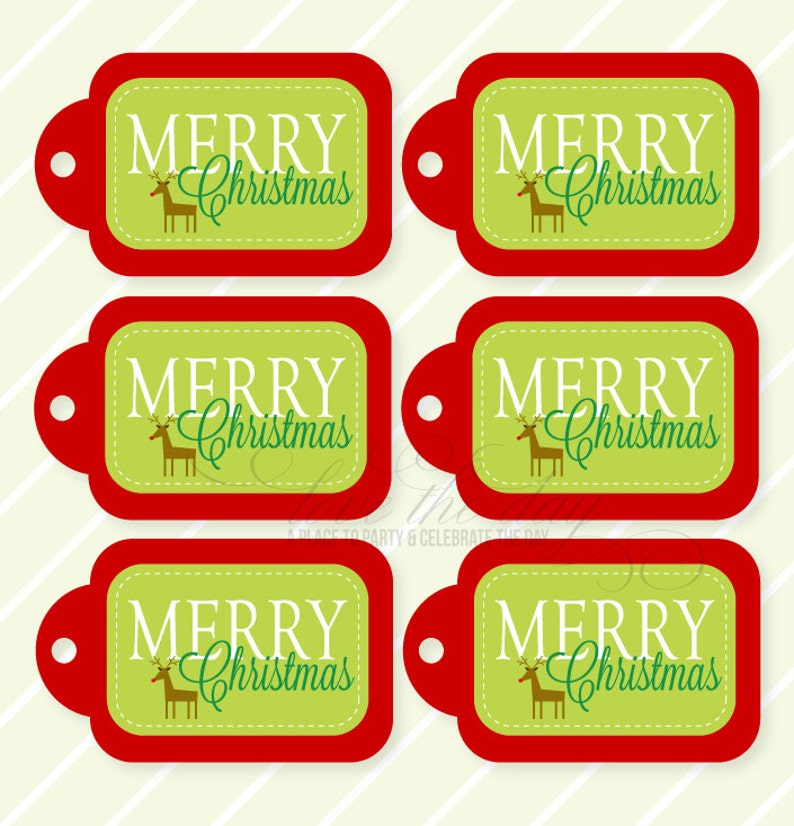 photo about Merry Christmas Tags Printable identified as Merry Xmas PRINTABLE Reward Tags by means of Appreciate The Working day