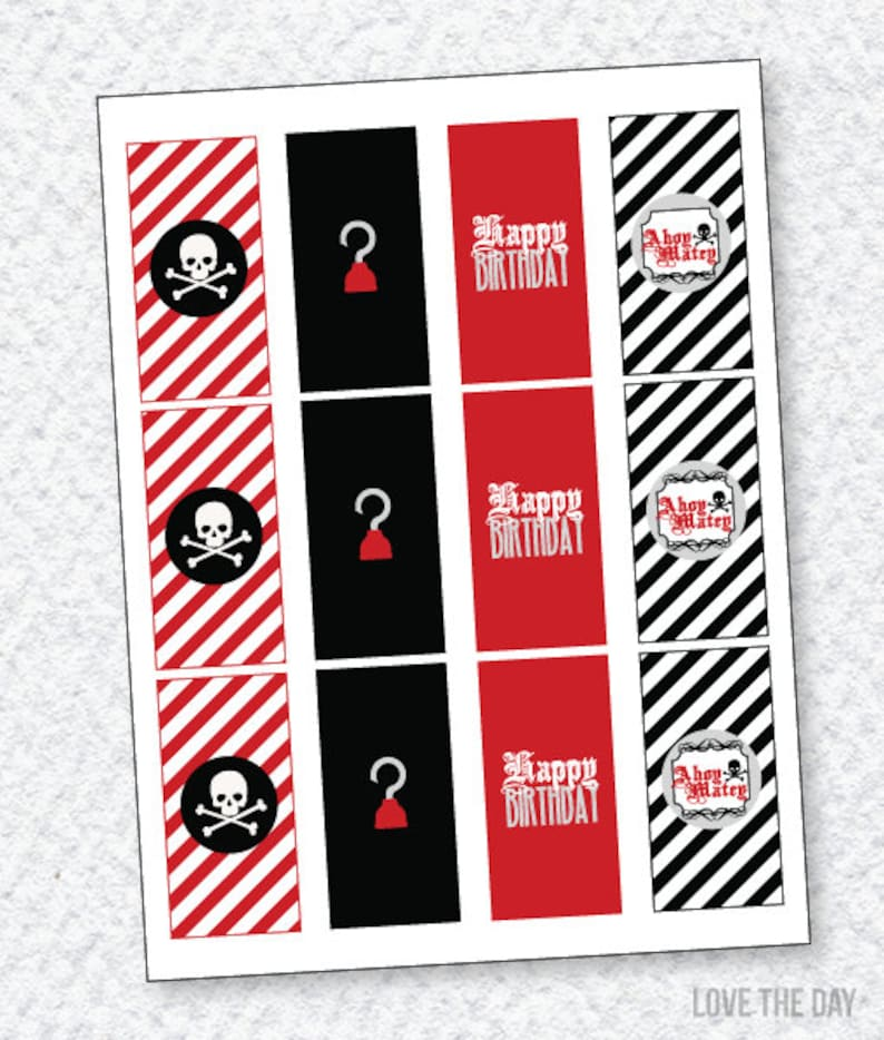 graphic about Pirate Party Printable named Pirate Social gathering PRINTABLE Mini Sweet Bar Wrappers via Enjoy The Working day