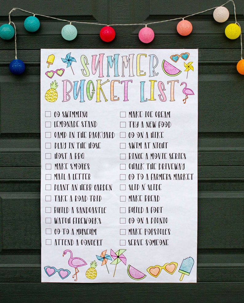Summer Bucket List PRINTABLE Poster by Lindi Haws of Love The image 0
