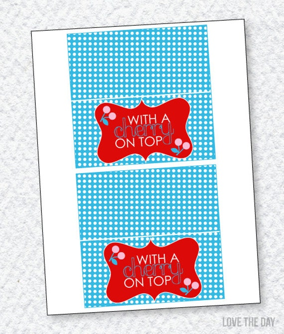 Cherry Party PRINTABLE Fold Over Tags INSTANT DOWNLOAD By
