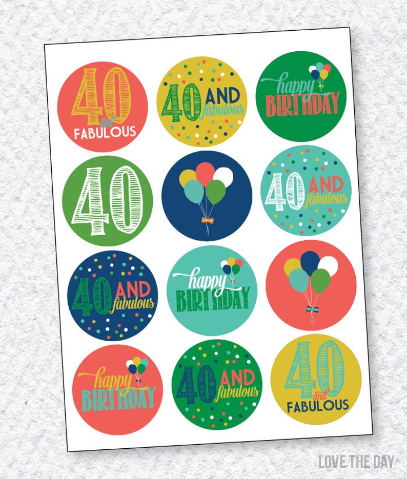 40th Birthday PRINTABLES Party Circles Instant Download by | Etsy