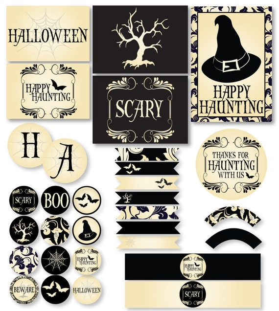 graphic regarding Vintage Halloween Printable named Spooky Basic Halloween PRINTABLE Occasion (Quick Down load