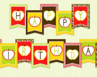 Apple Party PRINTABLE Happy Birthday Banner (INSTANT DOWNLOAD) from Love The Day