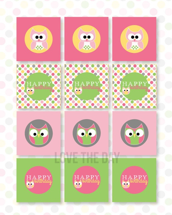 Night Owl Sleepover PRINTABLE Party Tags (INSTANT DOWNLOAD