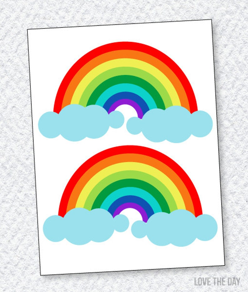 image relating to Printable Rainbow identified as Rainbow Social gathering PRINTABLE Rainbow Decals (Instantaneous Down load) in opposition to Delight in The Working day