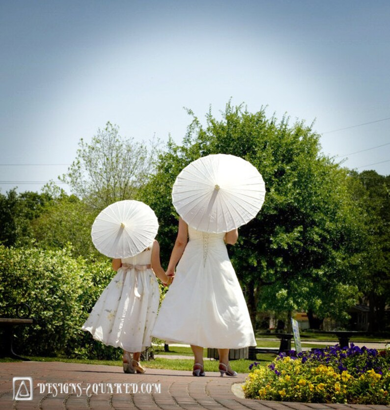 Plain White or Ivory Fabric Parasol  Great for Weddings as image 0
