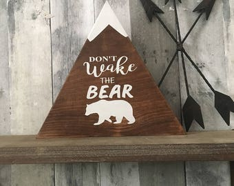 Don't Wake the Bear - Woodland Home Decor - Country Home Decor, Bear Art - Wooden Signs - Country Cabin - Cabin Decor