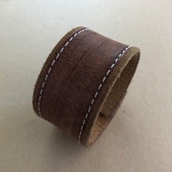 Handmade Women's Brown Leather Cuff Bracelet (6.75 inches)
