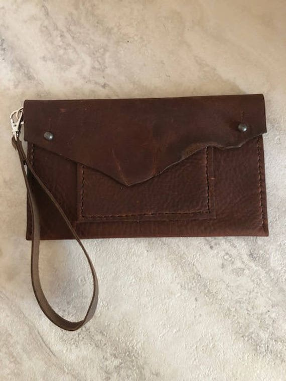 "Handmade Leather Bag, Small Leather ""Lucy"" Wristlet Bag"