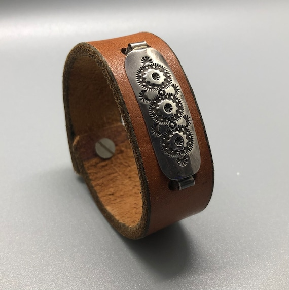 Brown Leather Bracelet with Sterling Silver, Brown Leather Cuff, Handmade Leather Bracelet, Leather Bracelets for Women