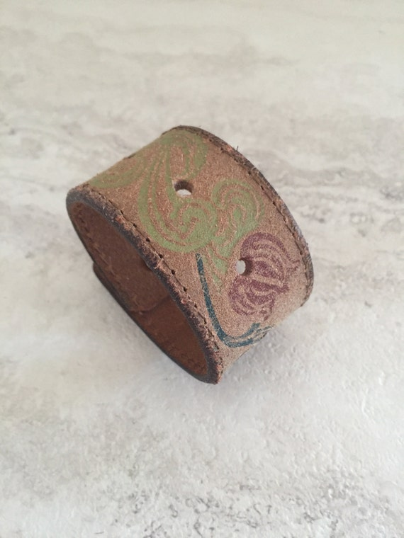 Handmade Women's Leather Cuff with Flowers