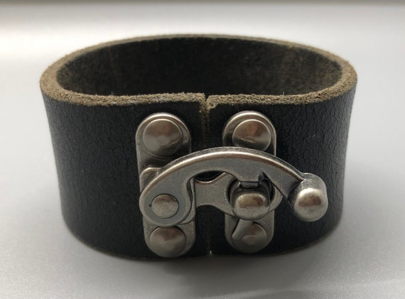 Black Leather Bracelet, Black Leather Cuff