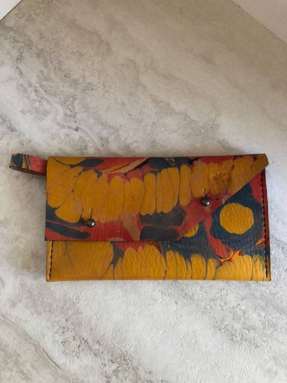 "Handmade Marbled Leather Bag, Small Leather ""Lucy"" Finger Loop Bag"