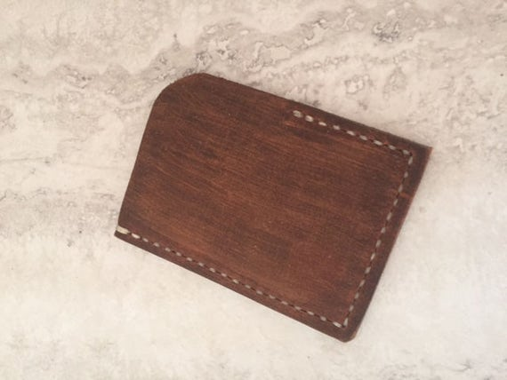 Handmade Brown Card Holder, Distressed Leather