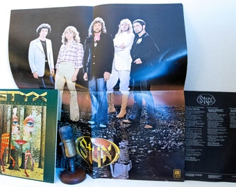 "ON SALE Styx Vinyl Record Album Vintage 1970s Classic Rock Dennis DeYoung Tommy Shaw ""The Grand Illusion"" (1977 A&M w/""Come Sail Away"" and P"