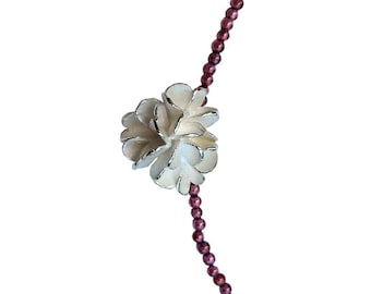 Necklace Silver blossom and garnet beads - Silver blossom pendant