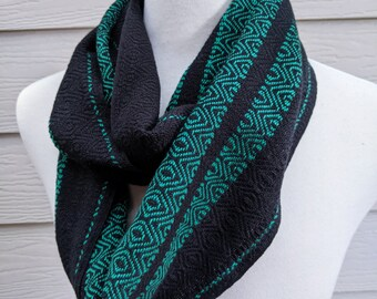 Handwoven Cotton Loop Scarf - Emerald + Black Shimmer
