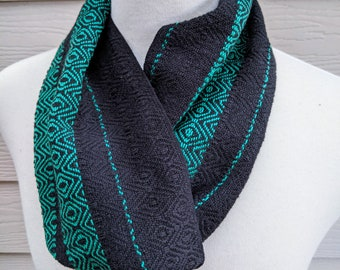Cravat-Style Infinity Scarf - Emerald + Black Shimmer