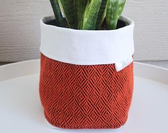 Handwoven Fabric Plant Holder - Tangerine