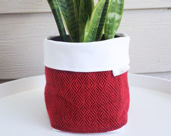 Handwoven Fabric Plant Holder - Red