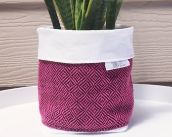 Handwoven Fabric Plant Holder - Hot Pink