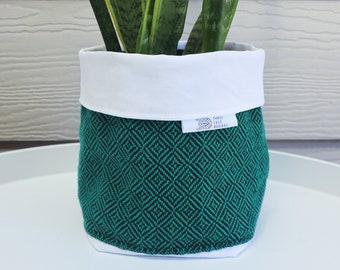 Handwoven Fabric Plant Holder - Emerald Green