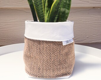 Handwoven Fabric Plant Holder - Oatmeal