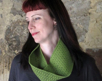 Handwoven Infinity Scarf Cowl - Olive Green + Black
