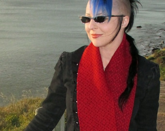 Handwoven Infinity Scarf Cowl - Cherry Red + Black