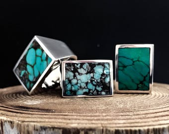 Turquoise Rectangle Inlay Sterling Silver Unisex Ring